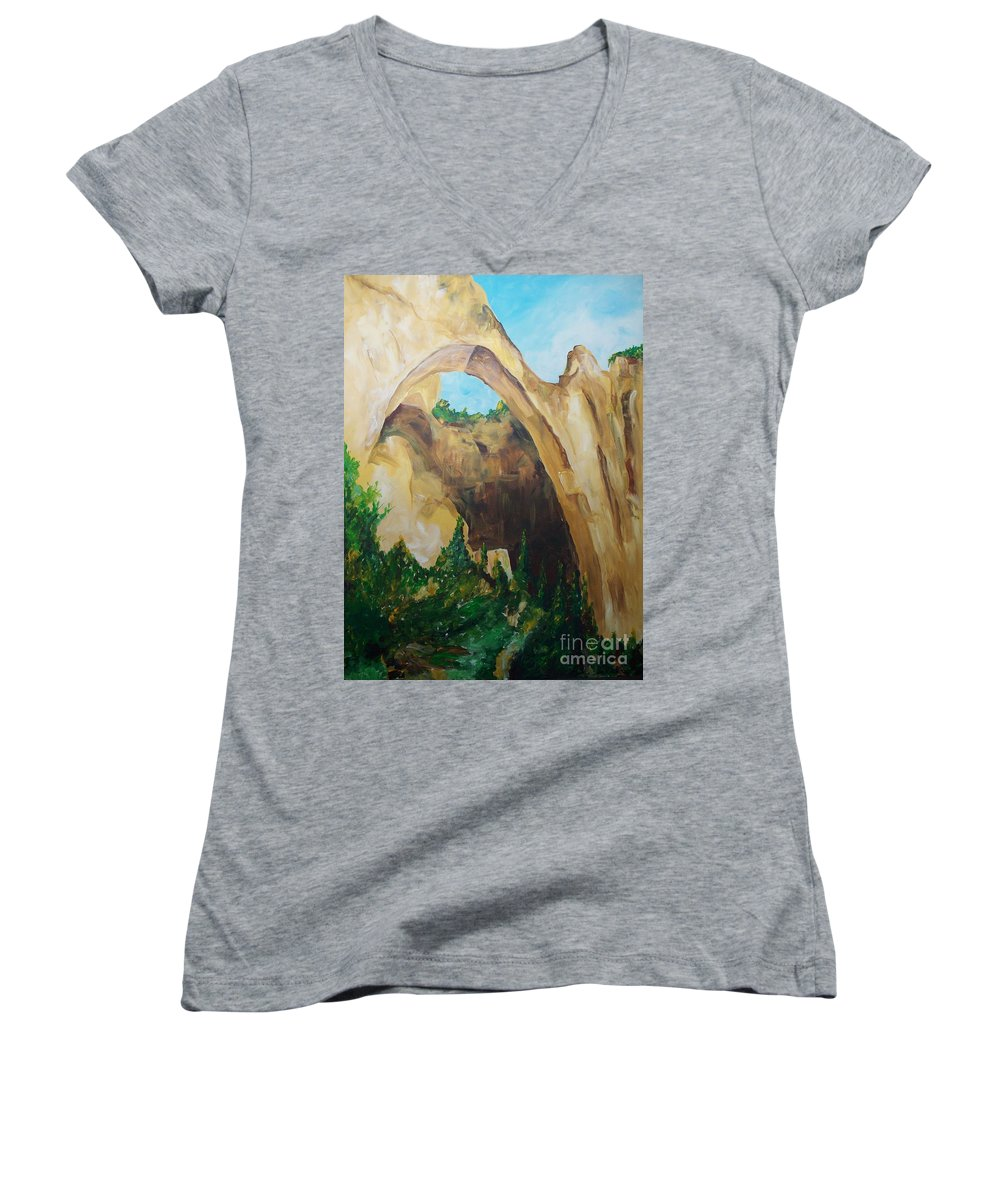 Floral Women's V-Neck T-Shirt featuring the painting Arch by Eric Schiabor