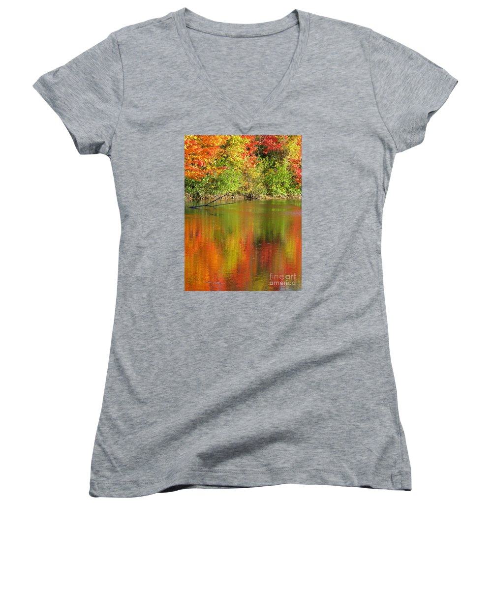 Autumn Women's V-Neck T-Shirt featuring the photograph Autumn Iridescence by Ann Horn