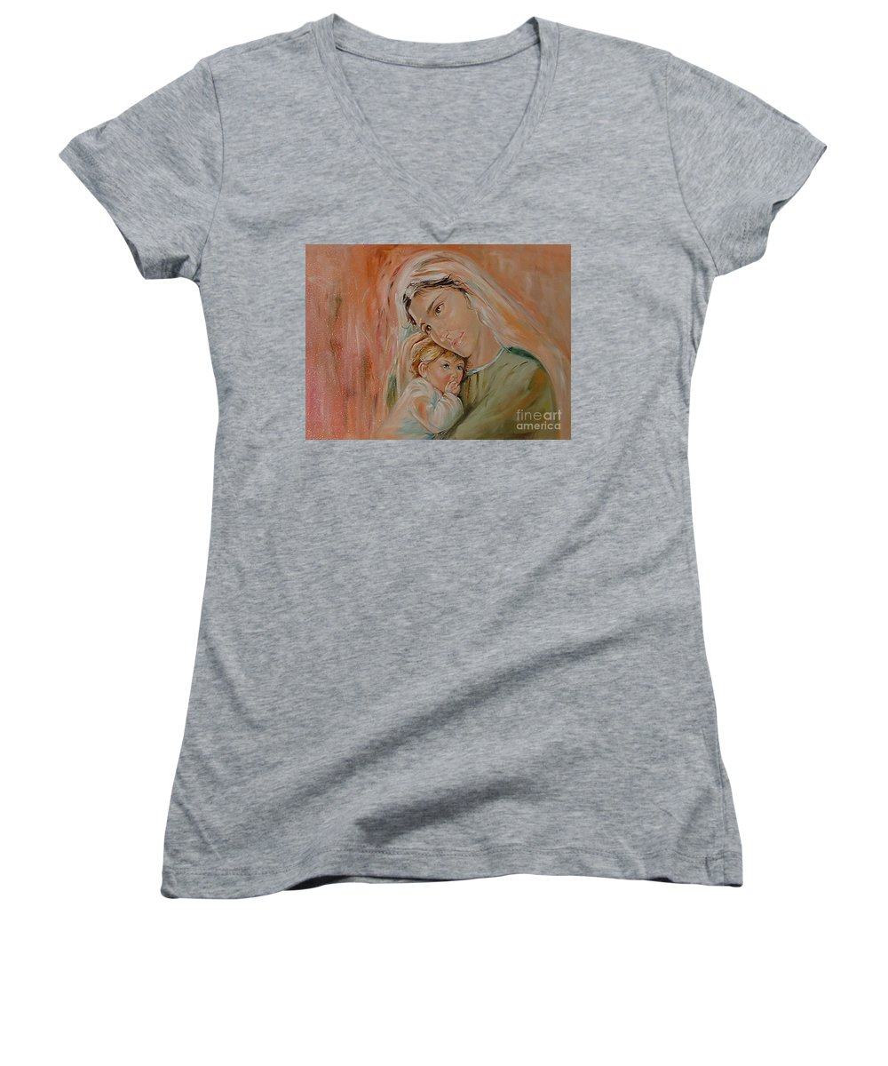 Classic Art Women's V-Neck (Athletic Fit) featuring the painting Ave Maria by Silvana Abel