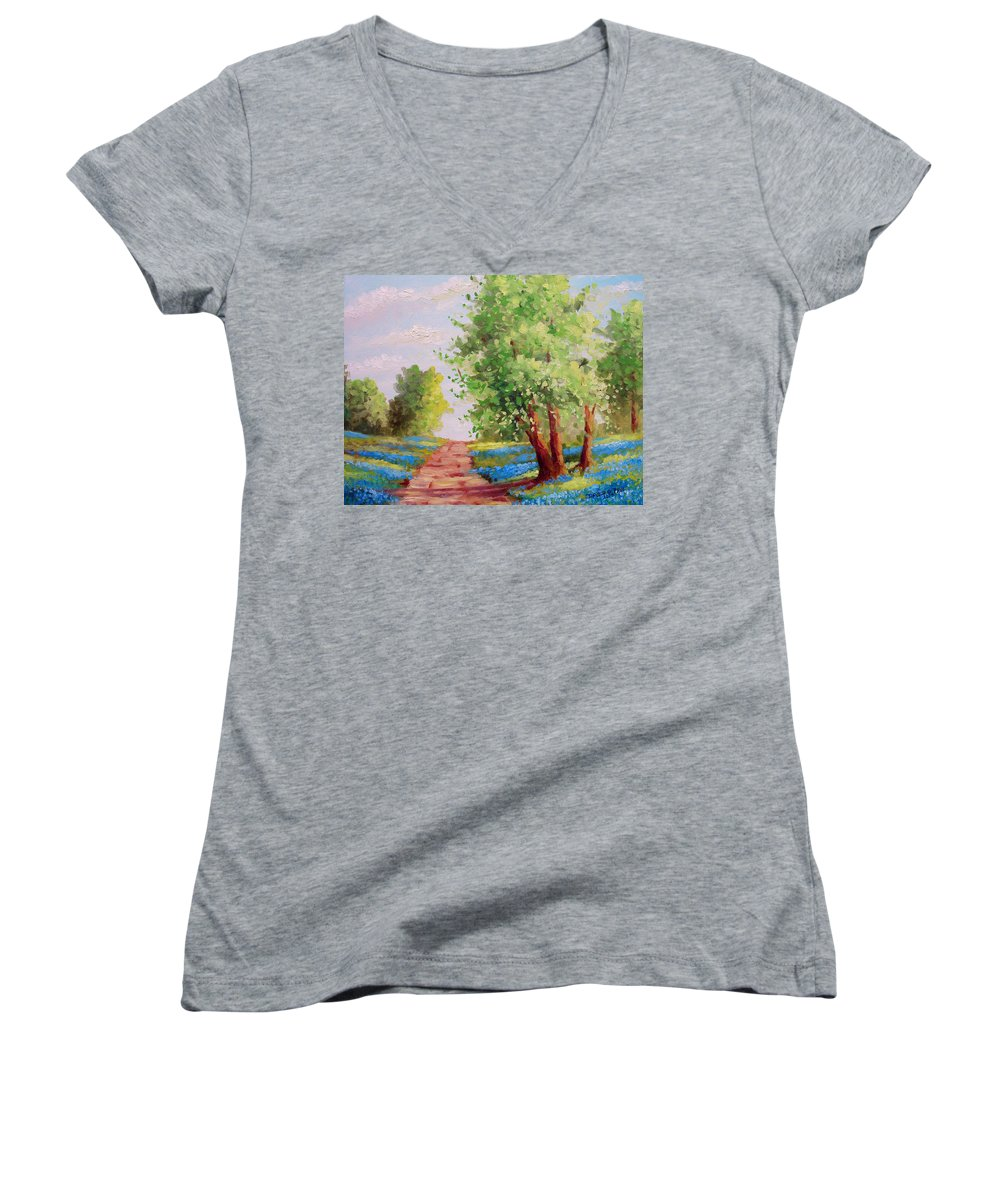 Bluebonnets Women's V-Neck T-Shirt featuring the painting Backroad Bluebonnets by David G Paul