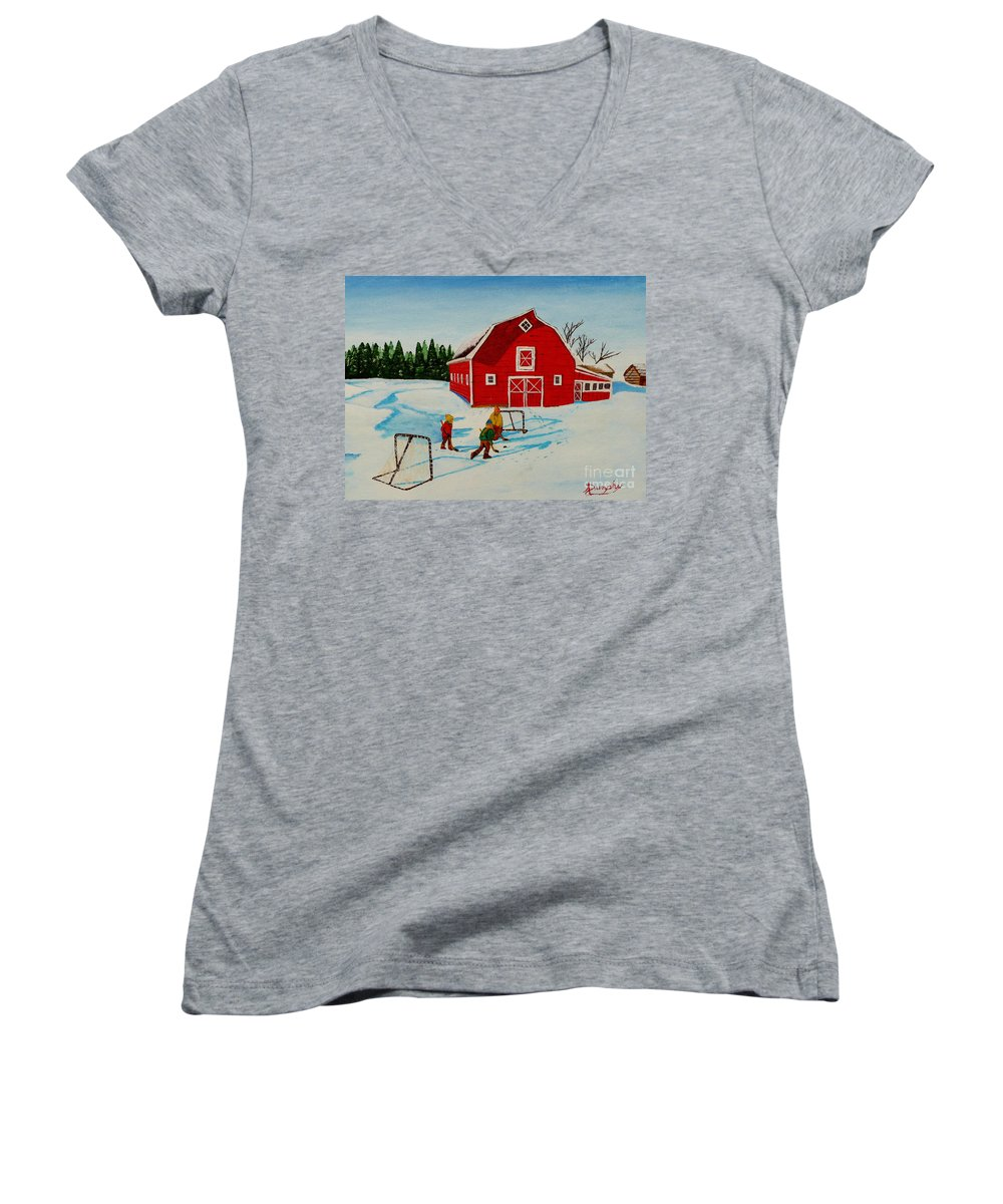 Hockey Women's V-Neck T-Shirt featuring the painting Barn Yard Hockey by Anthony Dunphy