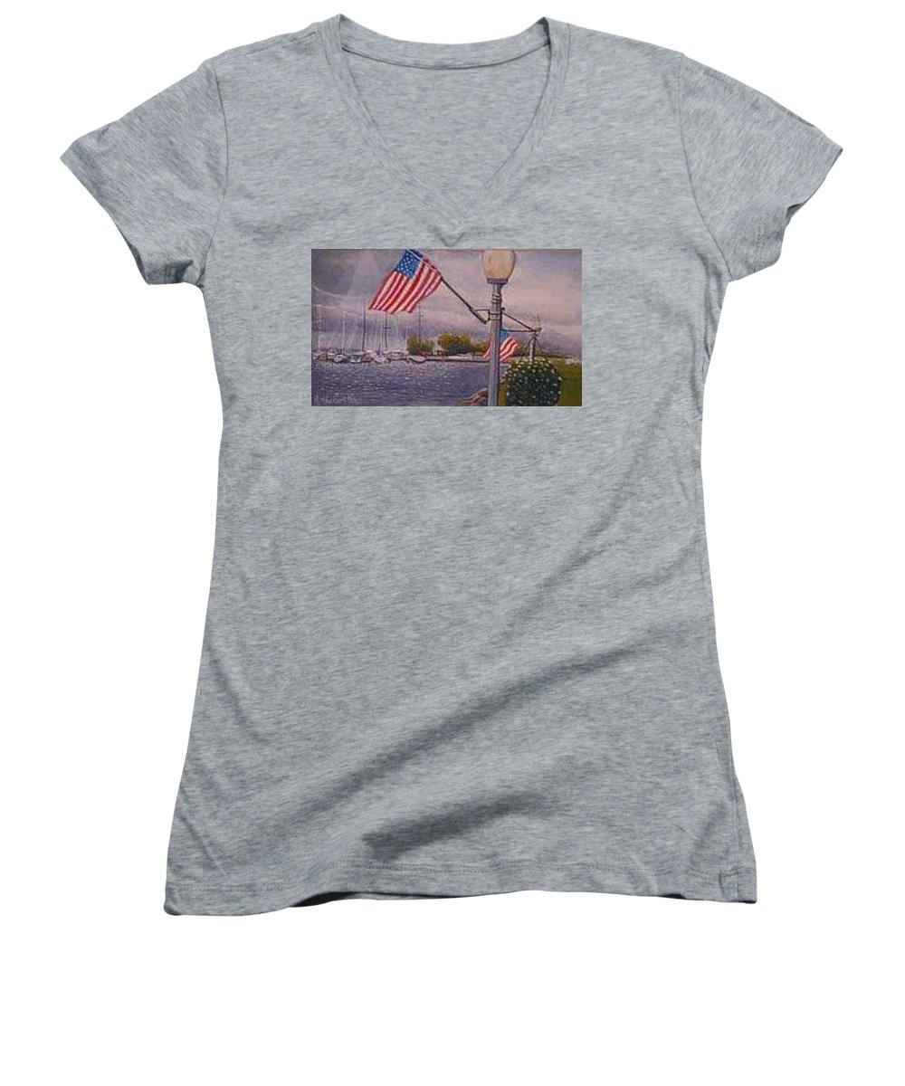 Rick Huotari Women's V-Neck (Athletic Fit) featuring the painting Bayfield On The 4th by Rick Huotari
