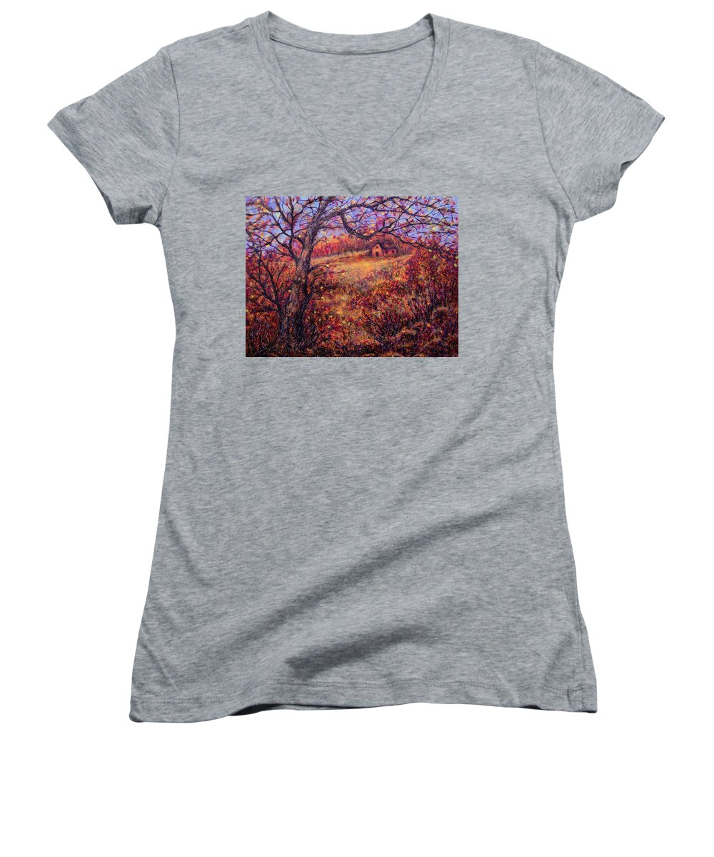 Autumn Women's V-Neck (Athletic Fit) featuring the painting Beautiful Autumn by Natalie Holland
