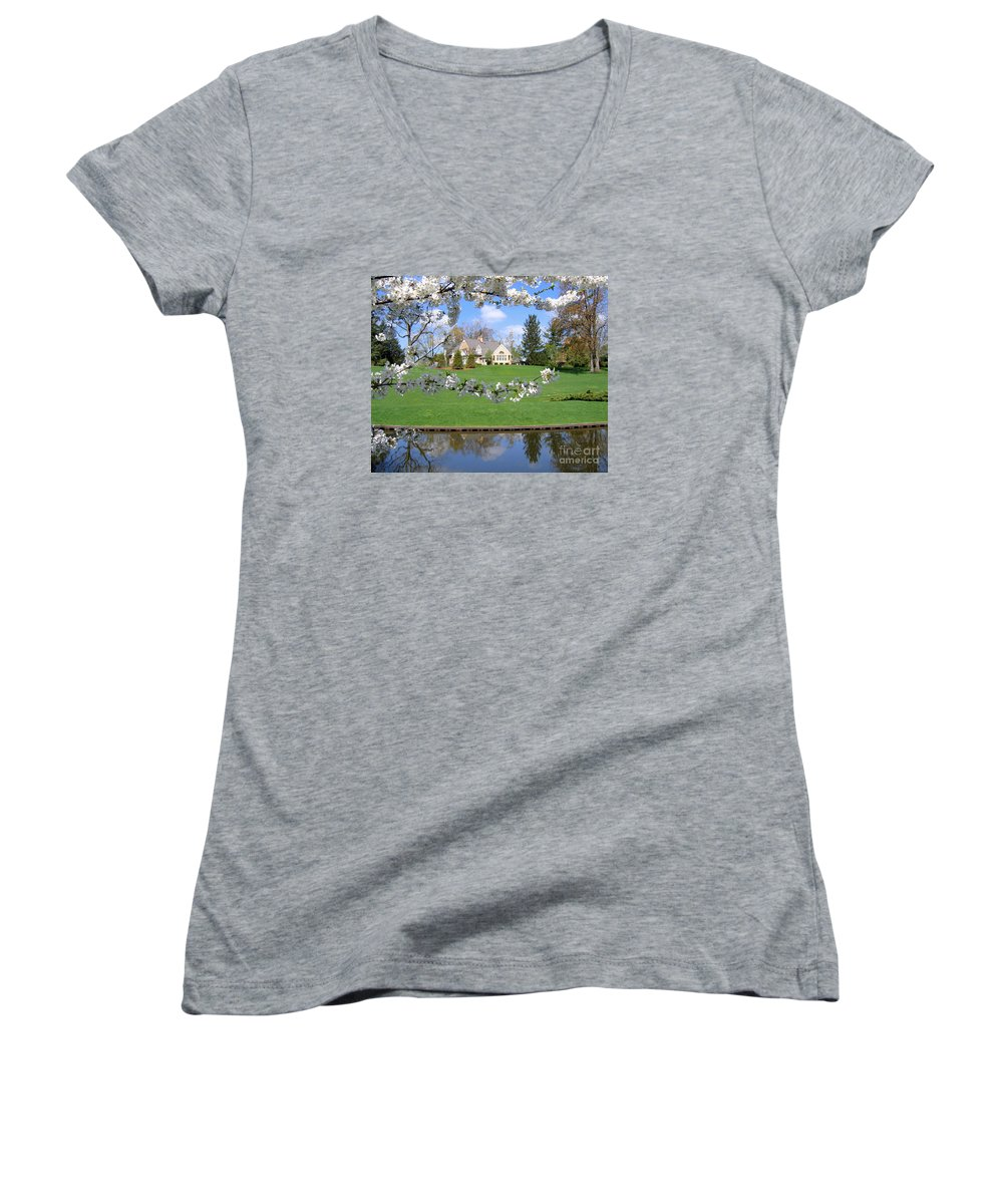 Spring Women's V-Neck T-Shirt featuring the photograph Blossom-framed House by Ann Horn