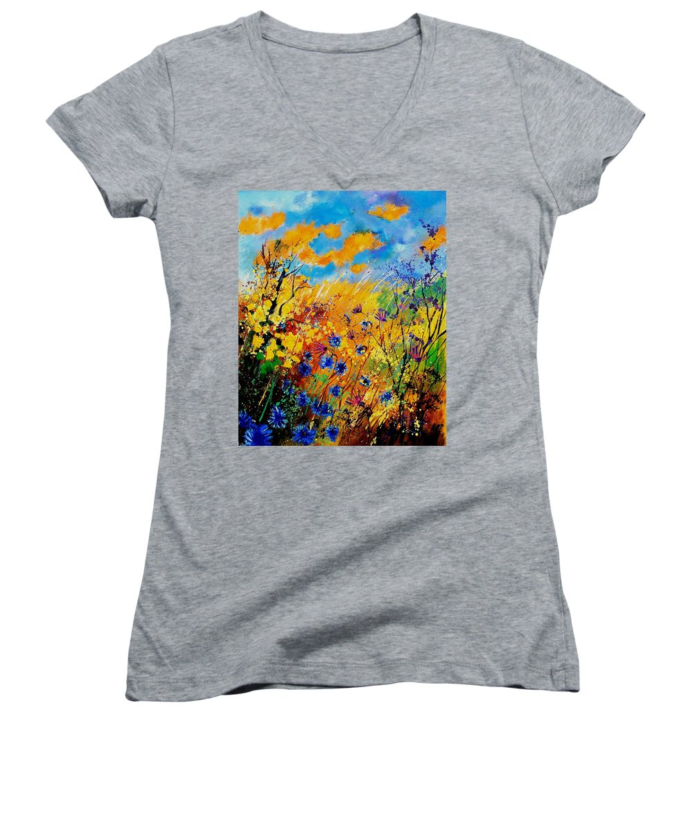 Poppies Women's V-Neck (Athletic Fit) featuring the painting Blue Cornflowers 450408 by Pol Ledent