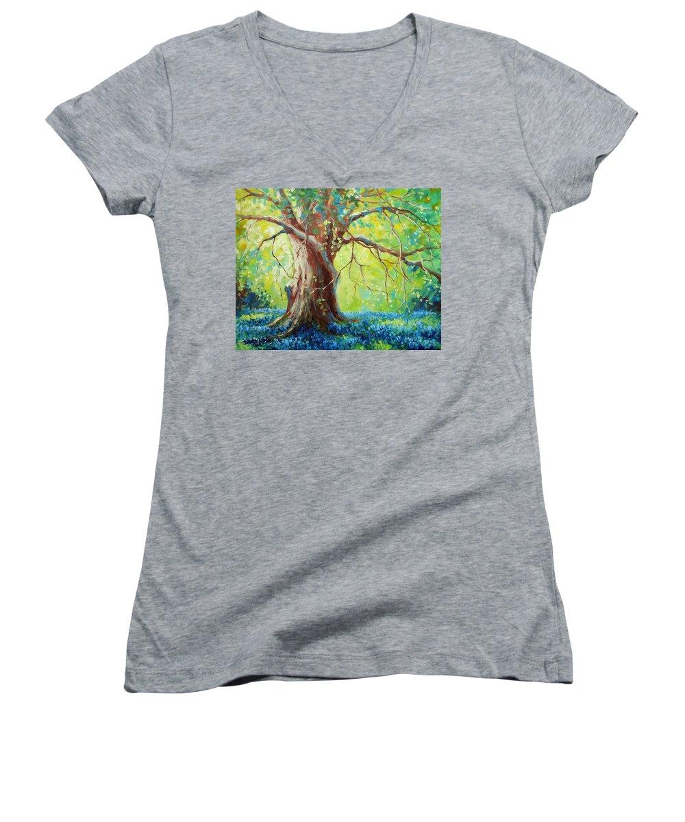 Bluebonnets Women's V-Neck T-Shirt featuring the painting Bluebonnets Under The Oak by David G Paul