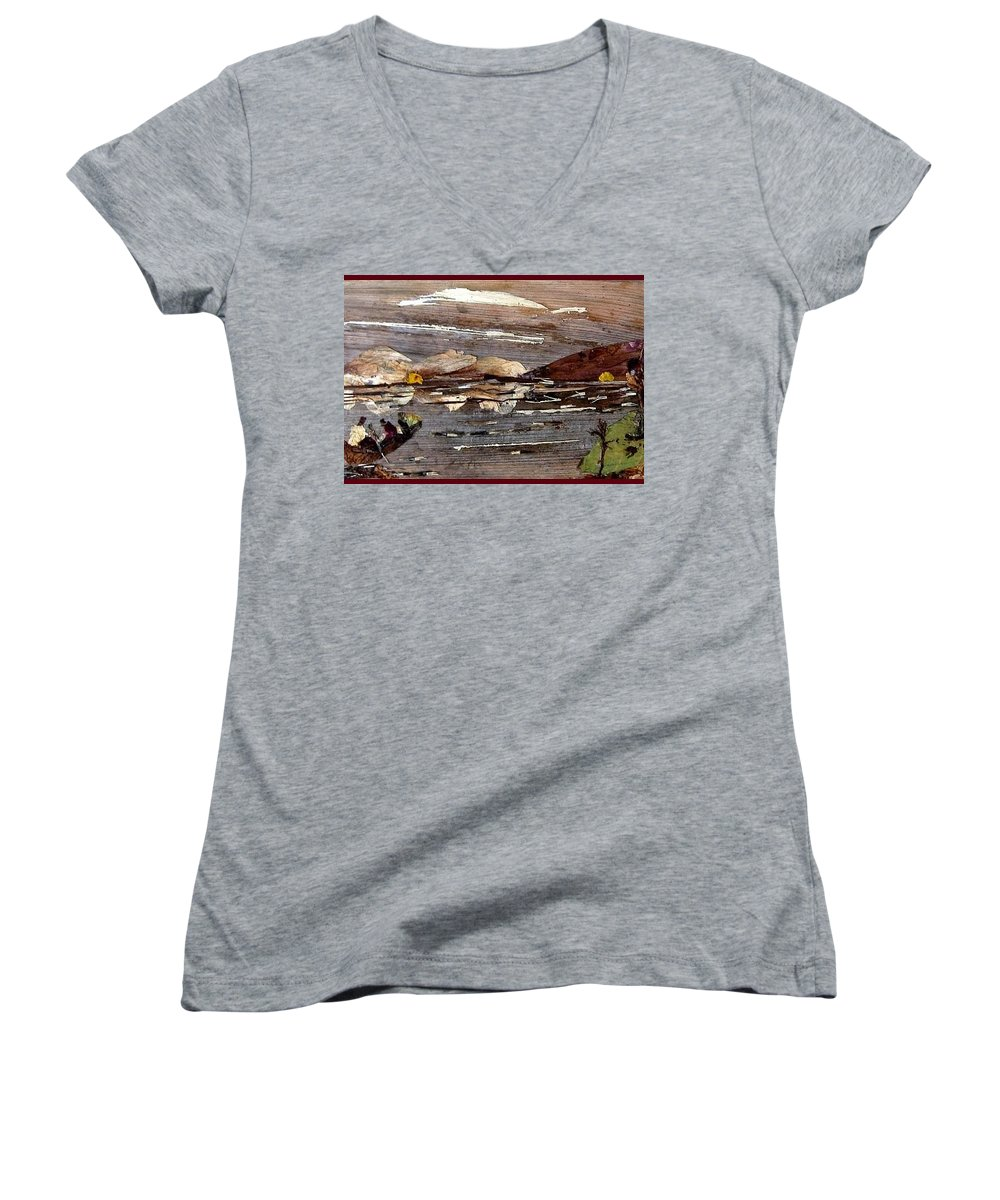 Boating Scene Women's V-Neck T-Shirt featuring the mixed media Boating In River by Basant Soni