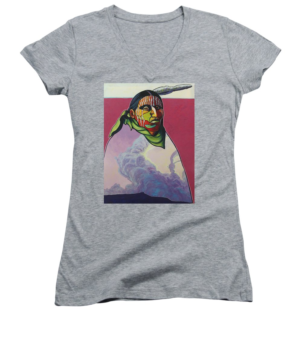 Native American Indian Women's V-Neck (Athletic Fit) featuring the painting Body And Soul by Joe Triano