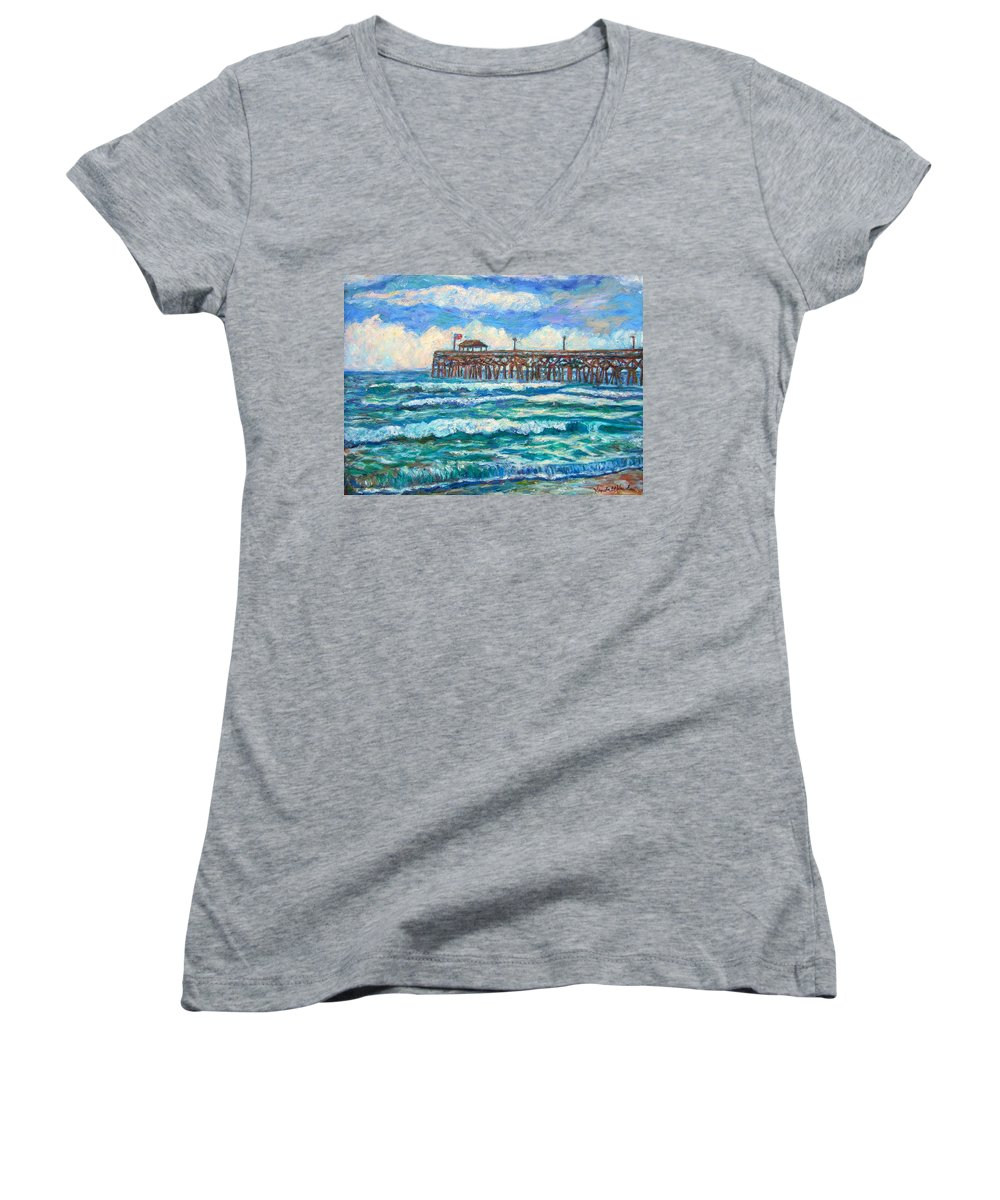 Shore Scenes Women's V-Neck T-Shirt featuring the painting Breakers At Pawleys Island by Kendall Kessler