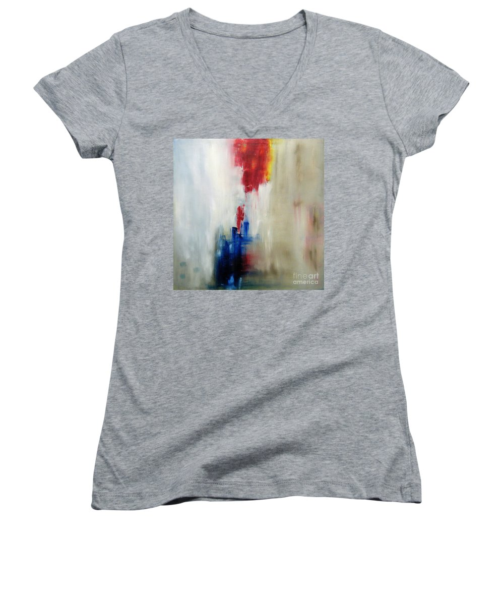 Abstract Painting Women's V-Neck (Athletic Fit) featuring the painting C-15 by Jeff Barrett