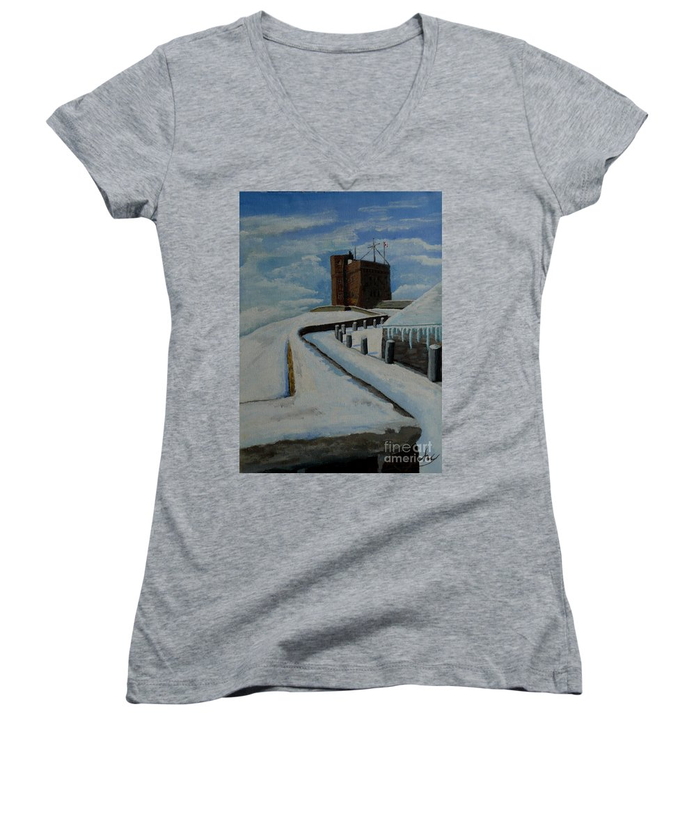 Landscape Women's V-Neck (Athletic Fit) featuring the painting Cabot Tower Newfoundland by Anthony Dunphy