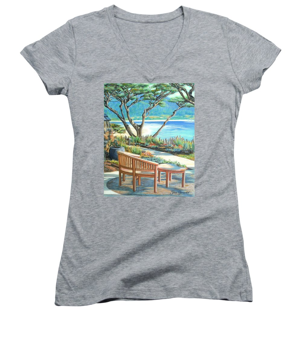 Carmel Women's V-Neck (Athletic Fit) featuring the painting Carmel Lagoon View by Jane Girardot