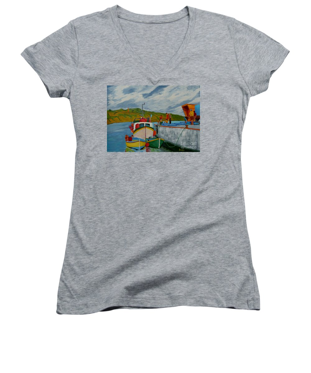 Boats Women's V-Neck (Athletic Fit) featuring the painting Catch Of The Day by Anthony Dunphy