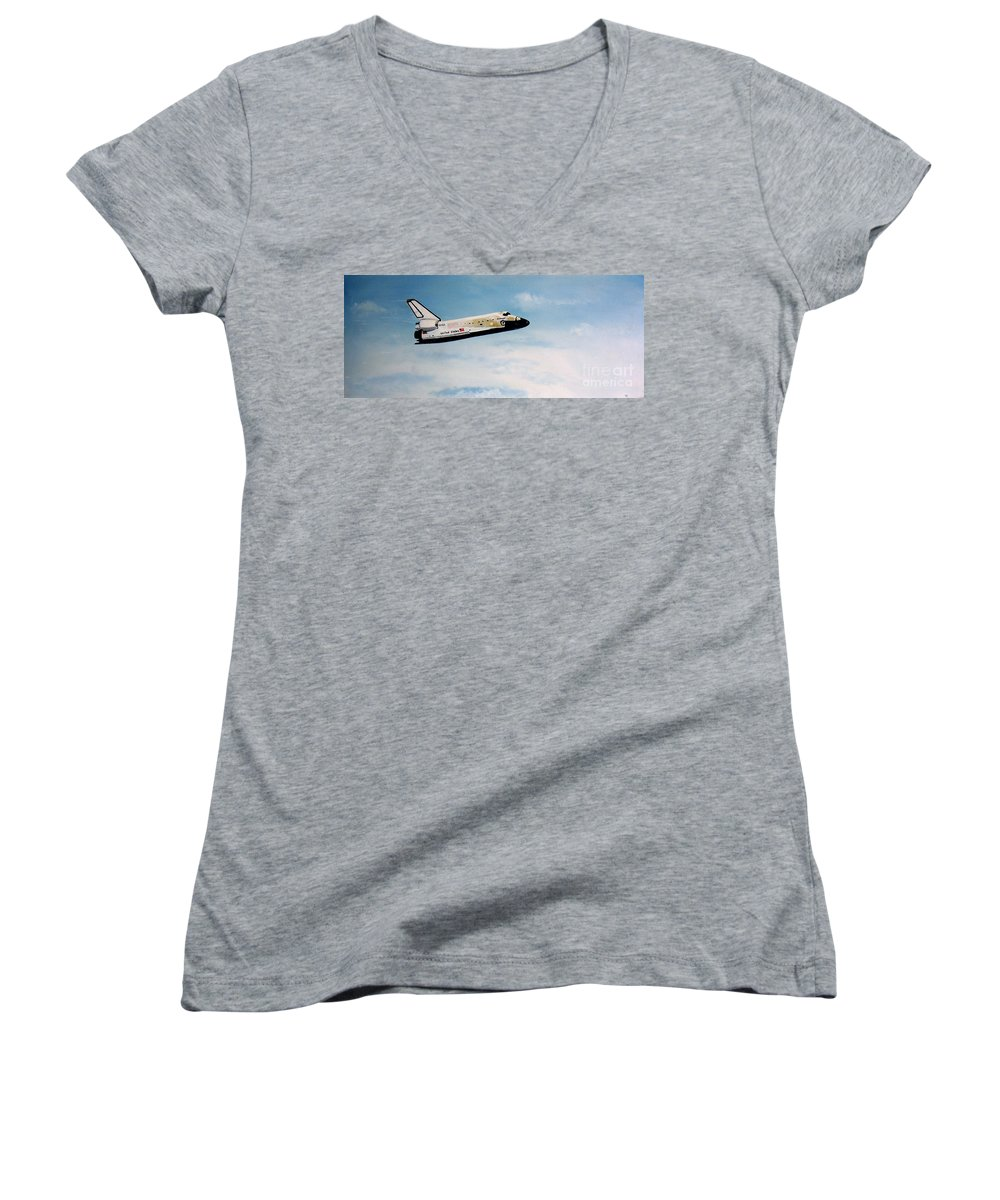 Shuttle Women's V-Neck T-Shirt featuring the painting Challenger by Murphy Elliott