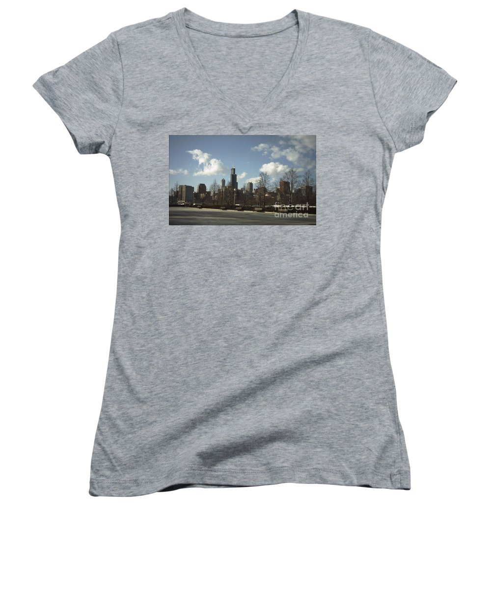 Chicago Skyline Women's V-Neck T-Shirt featuring the photograph Chicago Skyline Postcard by Minding My Visions by Adri and Ray