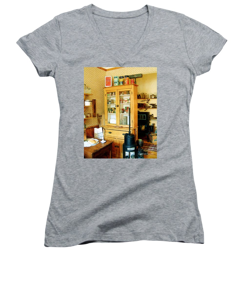 Antiques Women's V-Neck (Athletic Fit) featuring the painting Country Kitchen Sunshine IIi by RC deWinter