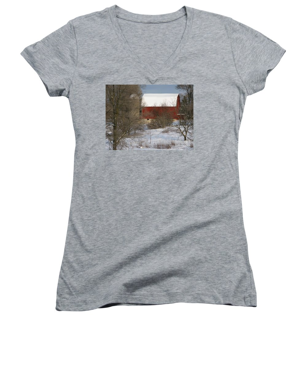 Winter Women's V-Neck (Athletic Fit) featuring the photograph Country Winter by Ann Horn