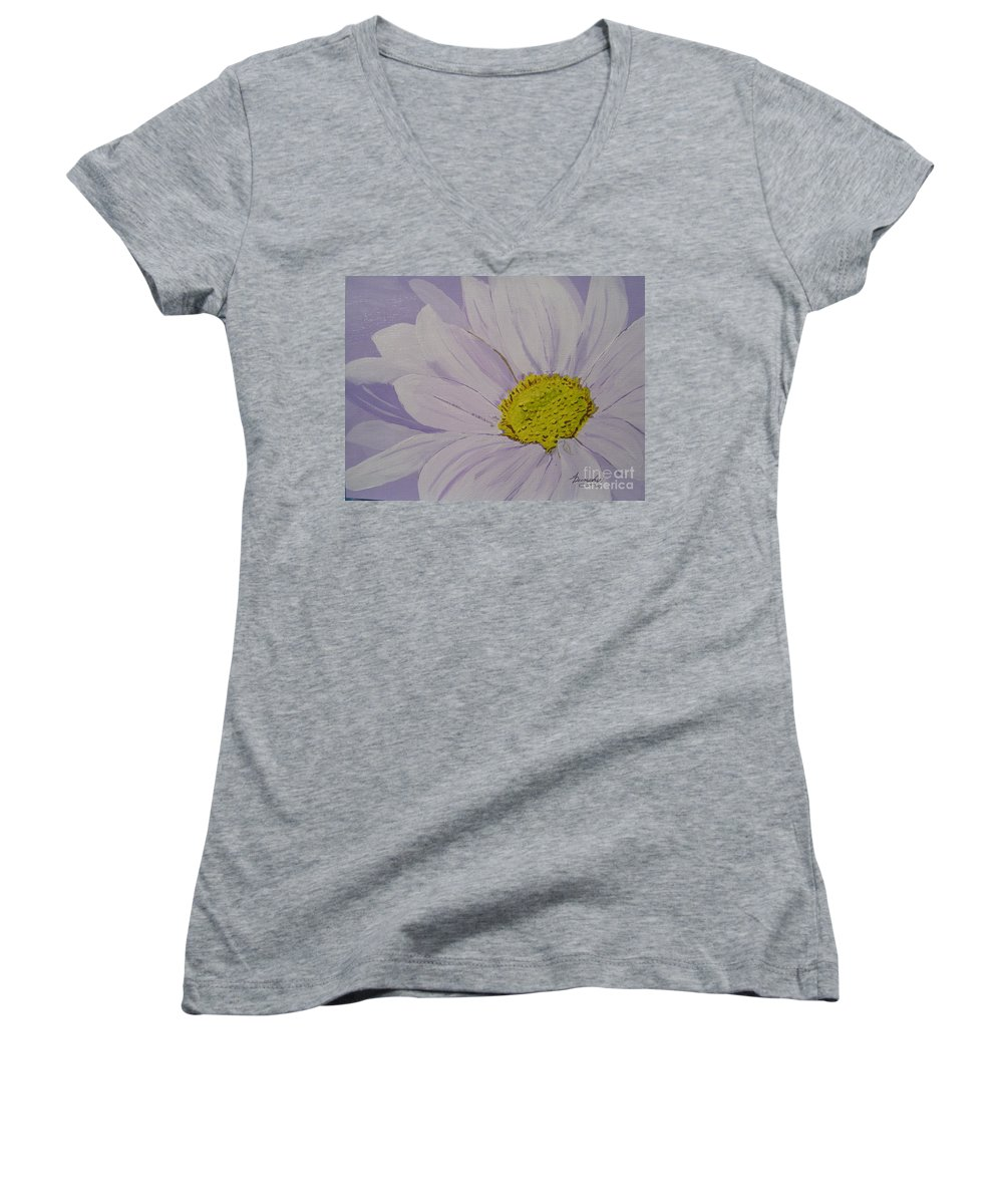 Daisy Women's V-Neck T-Shirt featuring the painting Daisy by Anthony Dunphy