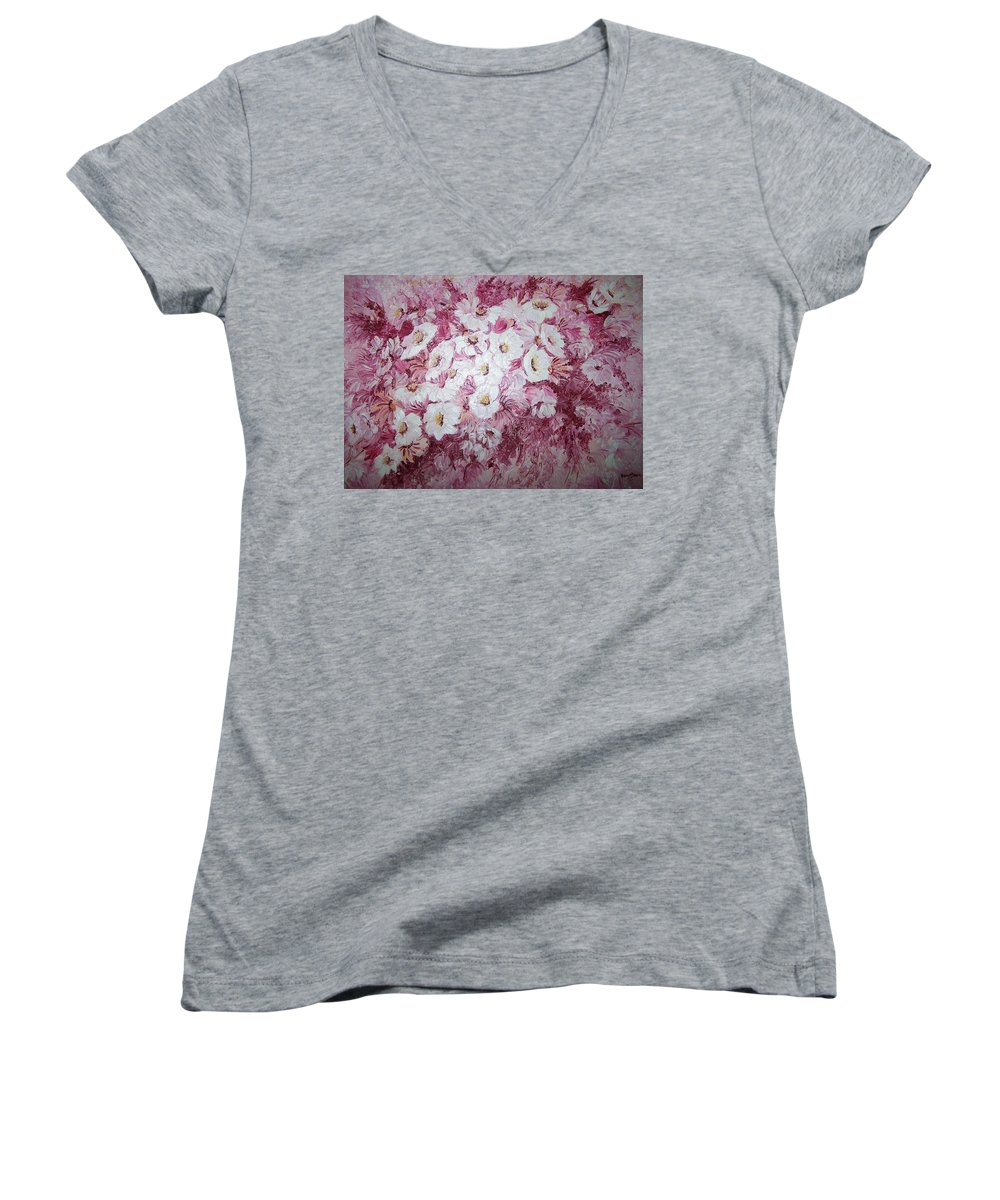 Women's V-Neck T-Shirt featuring the painting Daisy Blush by Karin Dawn Kelshall- Best