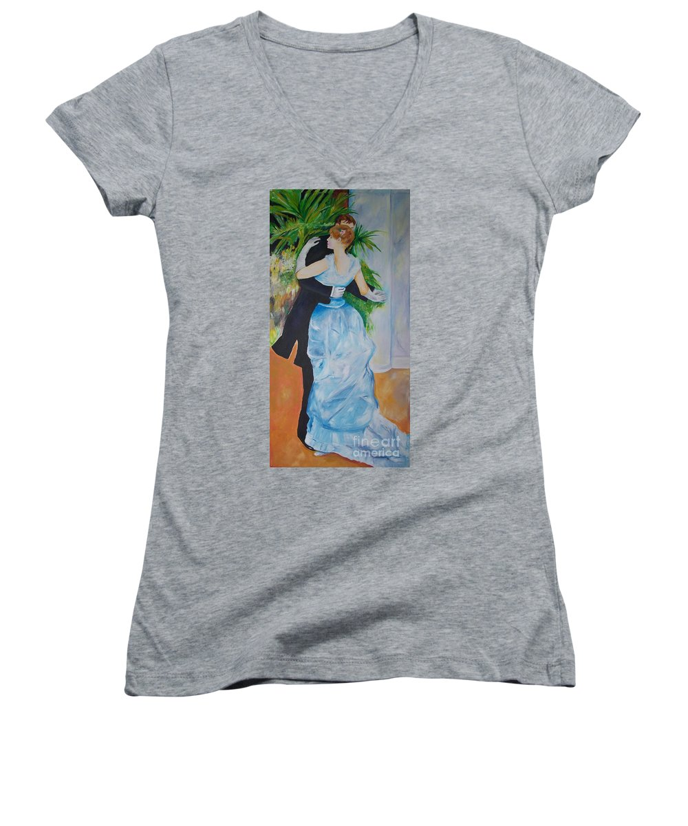Lavender Women's V-Neck T-Shirt featuring the painting Dance In The City by Eric Schiabor