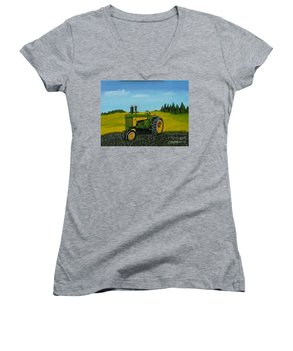 John Deere Women's V-Neck (Athletic Fit) featuring the painting Dear John by Anthony Dunphy