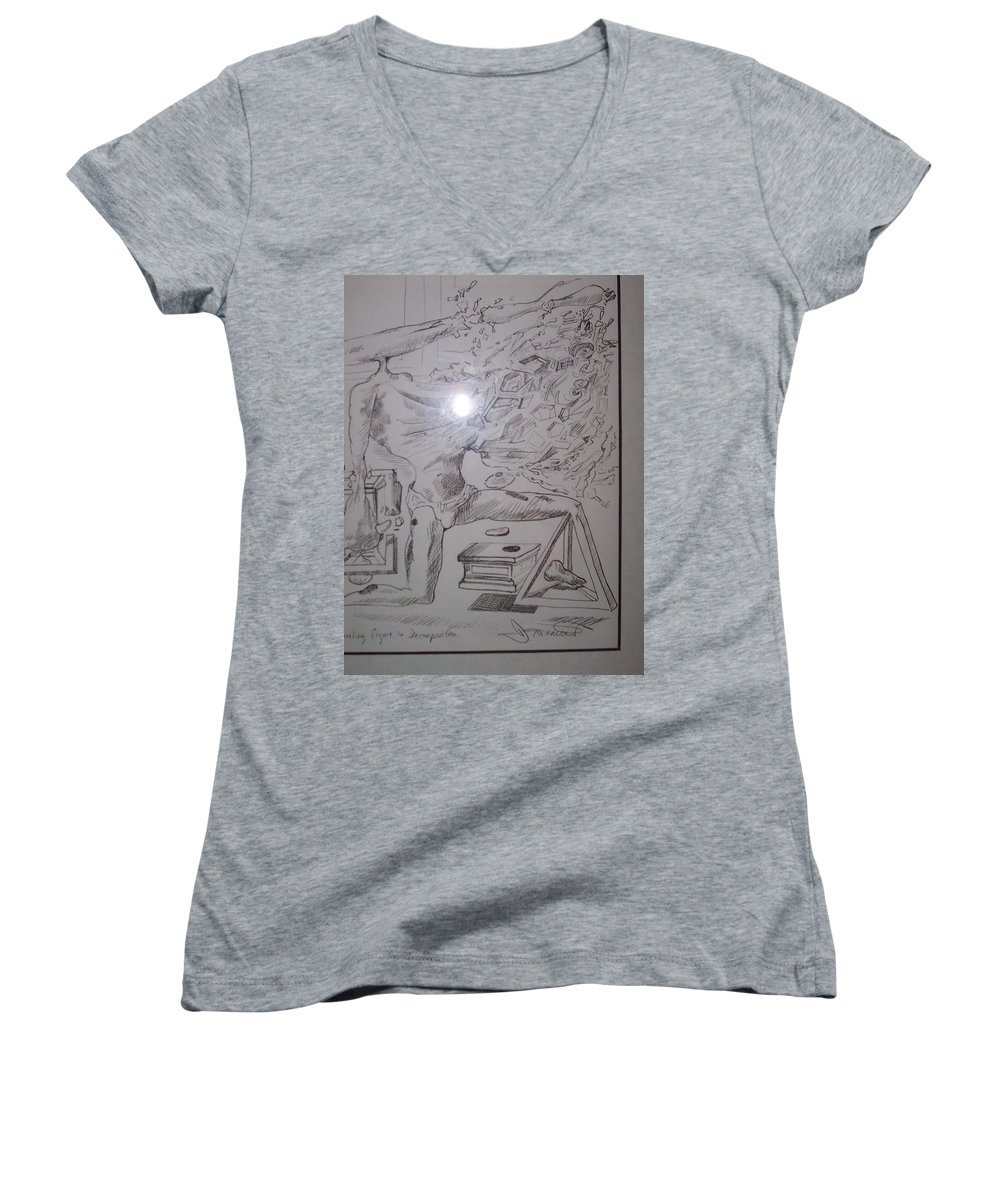 Women's V-Neck T-Shirt featuring the painting Decomposition Of Kneeling Man by Jude Darrien