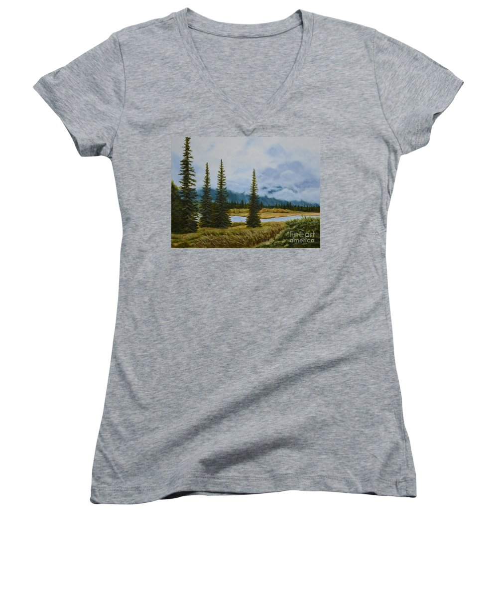 Usa Women's V-Neck (Athletic Fit) featuring the painting Denali Morning by Mary Rogers