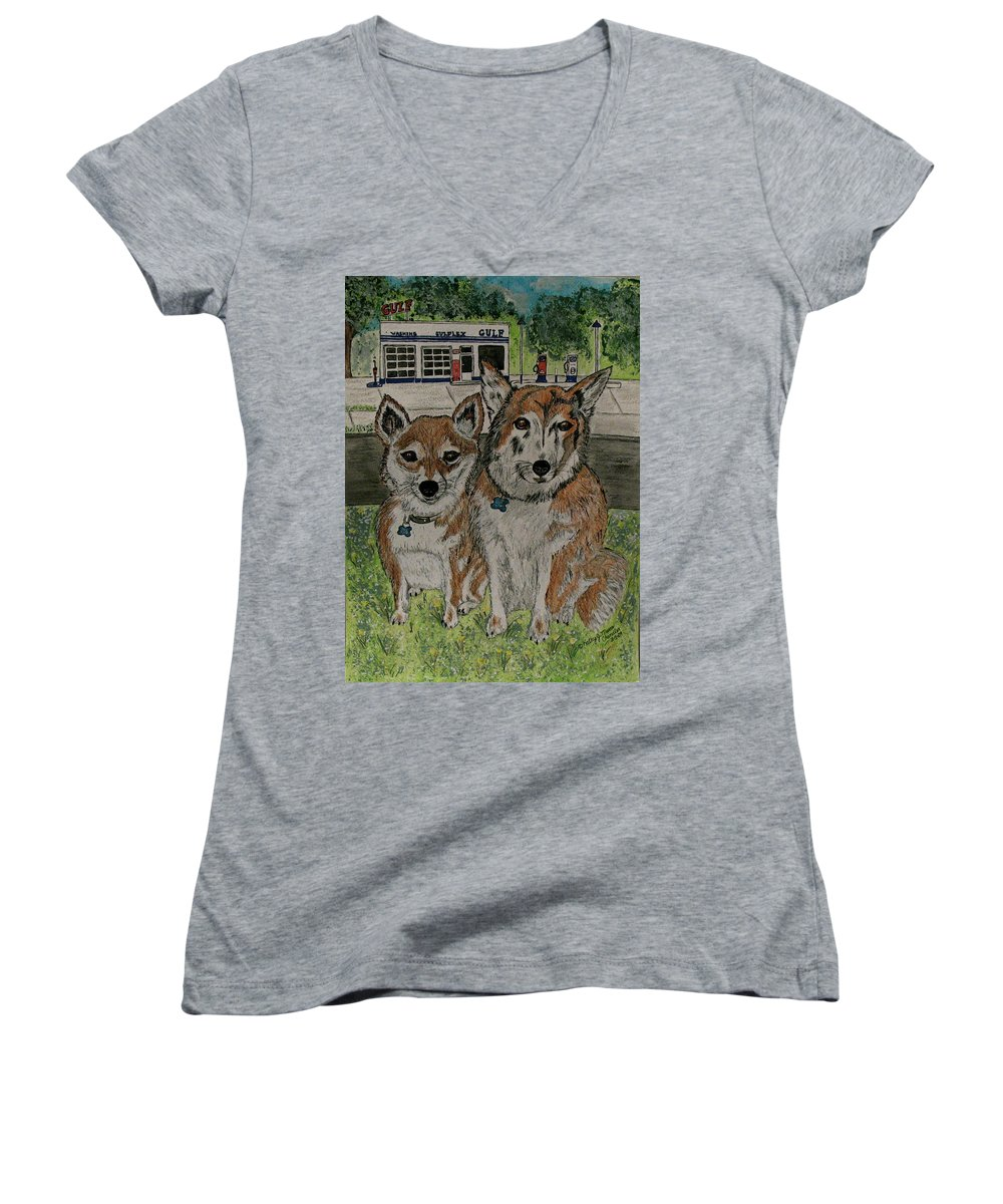 Dogs Women's V-Neck T-Shirt featuring the painting Dogs In Front Of The Gulf Station by Kathy Marrs Chandler