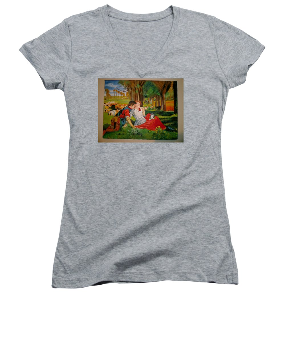 Women's V-Neck T-Shirt featuring the painting double portrait of freinds Gunner and Jessie by Jude Darrien