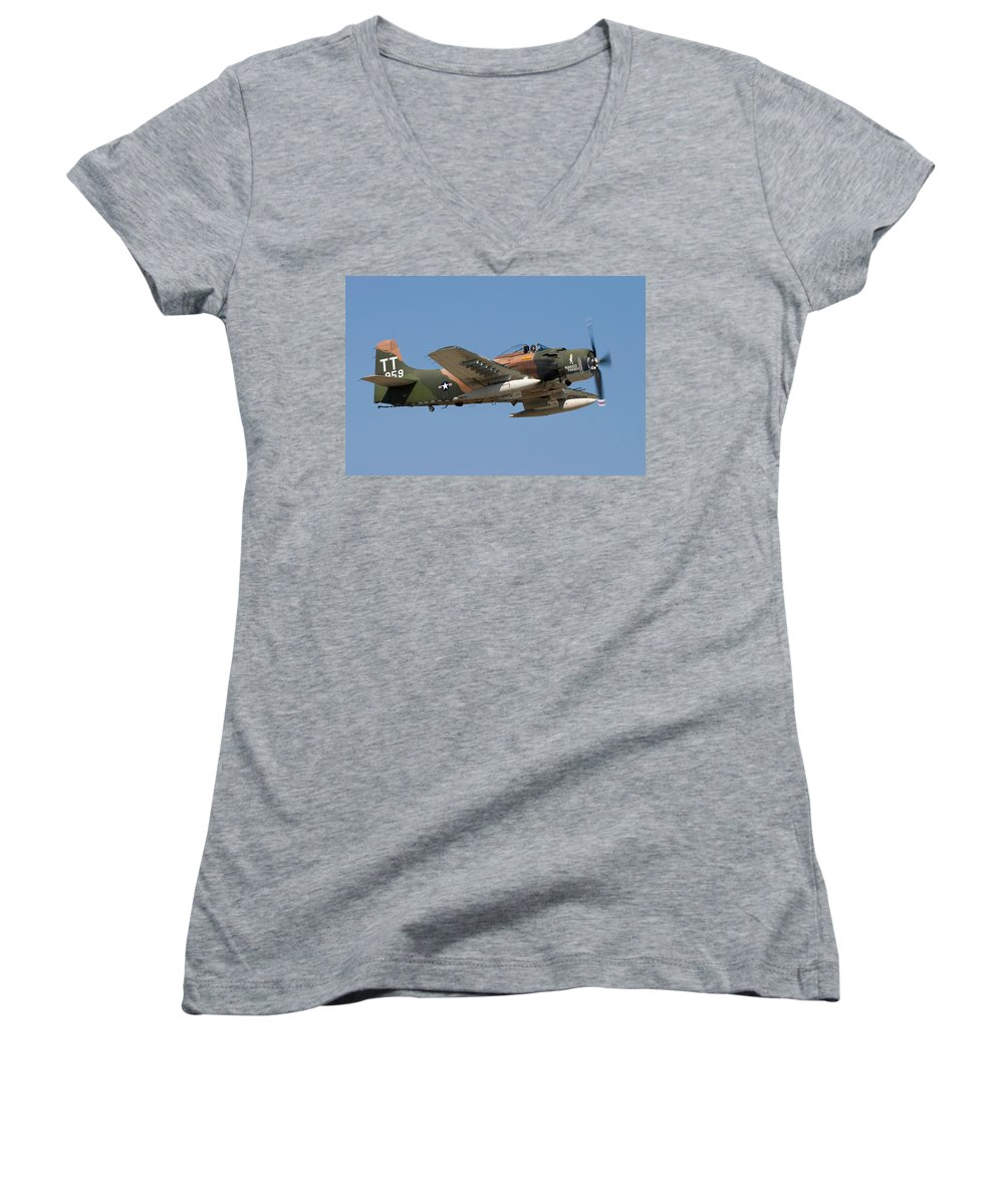 3scape Women's V-Neck (Athletic Fit) featuring the photograph Douglas Ad-4 Skyraider by Adam Romanowicz