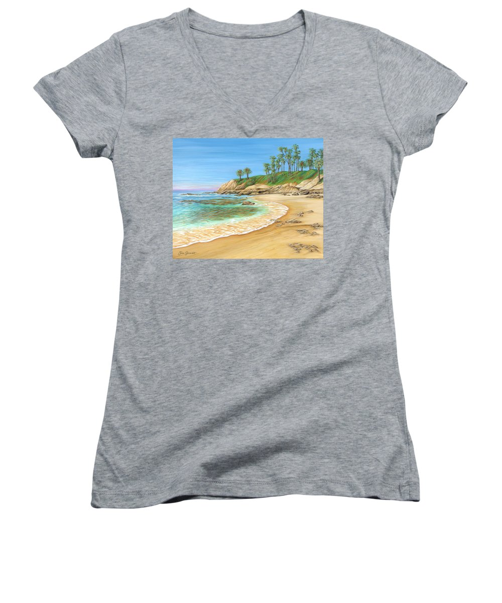 Beach Women's V-Neck T-Shirt featuring the painting Early Morning Laguna by Jane Girardot