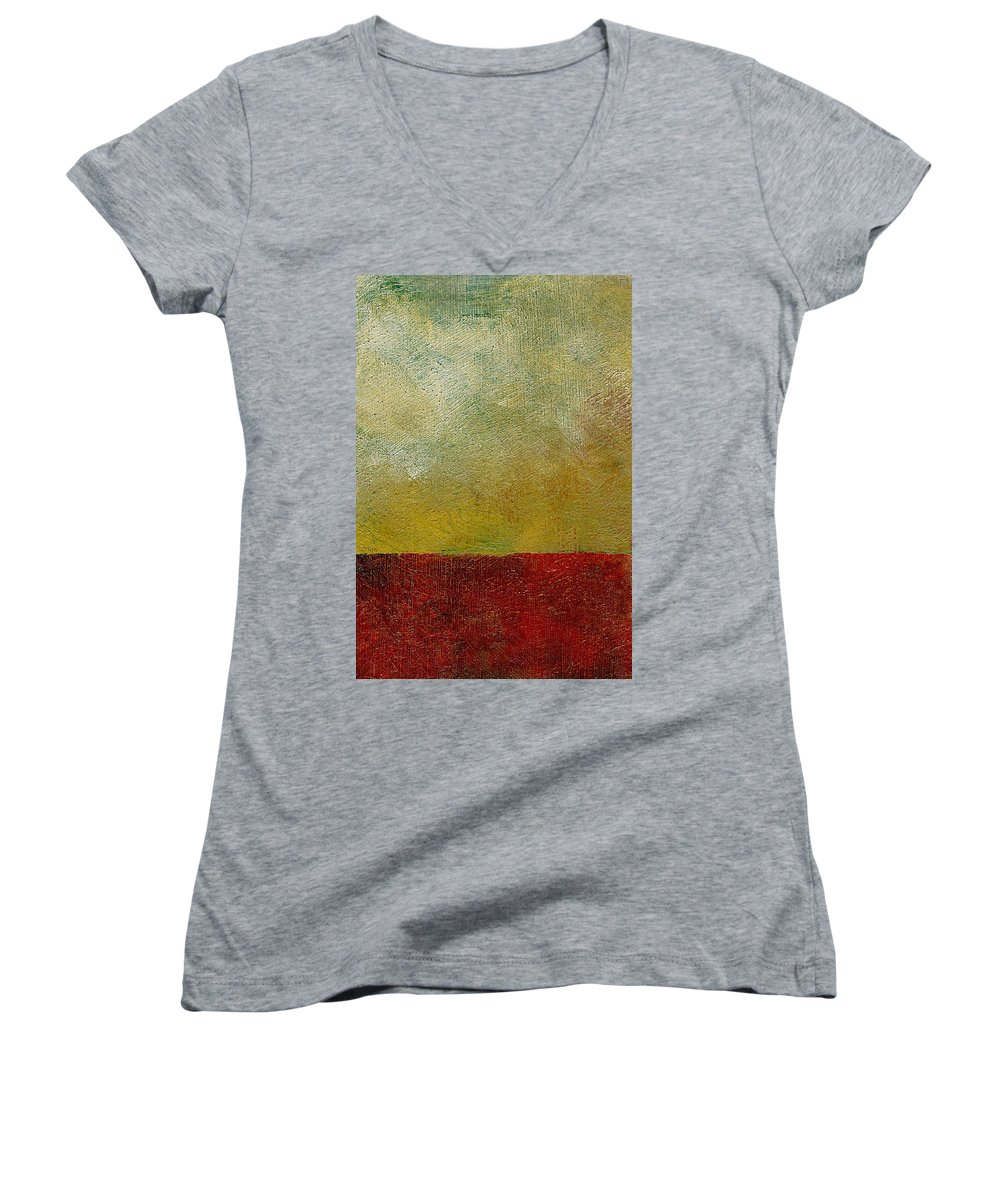 Abstract Landscape Women's V-Neck (Athletic Fit) featuring the painting Earth Study One by Michelle Calkins