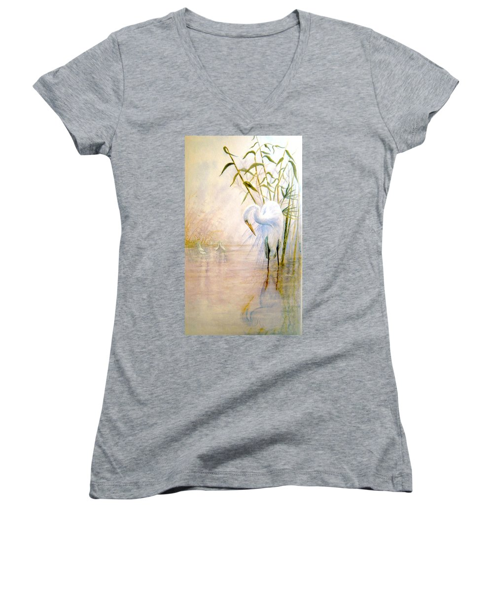 Eret; Bird; Low Country Women's V-Neck (Athletic Fit) featuring the painting Egret by Ben Kiger
