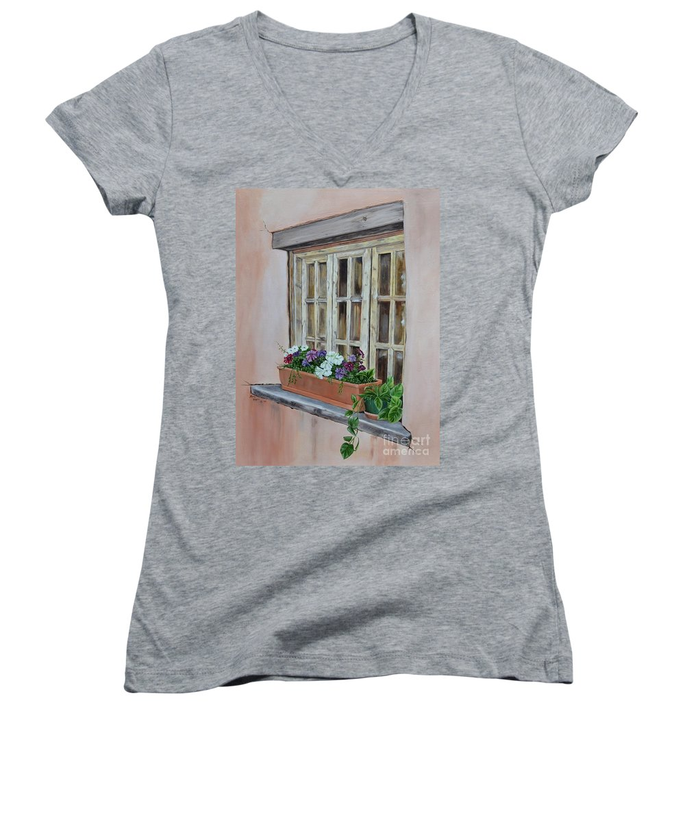 Adobe Women's V-Neck T-Shirt featuring the painting Elayne Look Through The Window by Mary Rogers