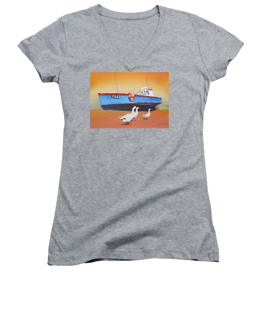 Geese Women's V-Neck T-Shirt featuring the painting Fishing Boat Walberswick With Geese by Charles Stuart