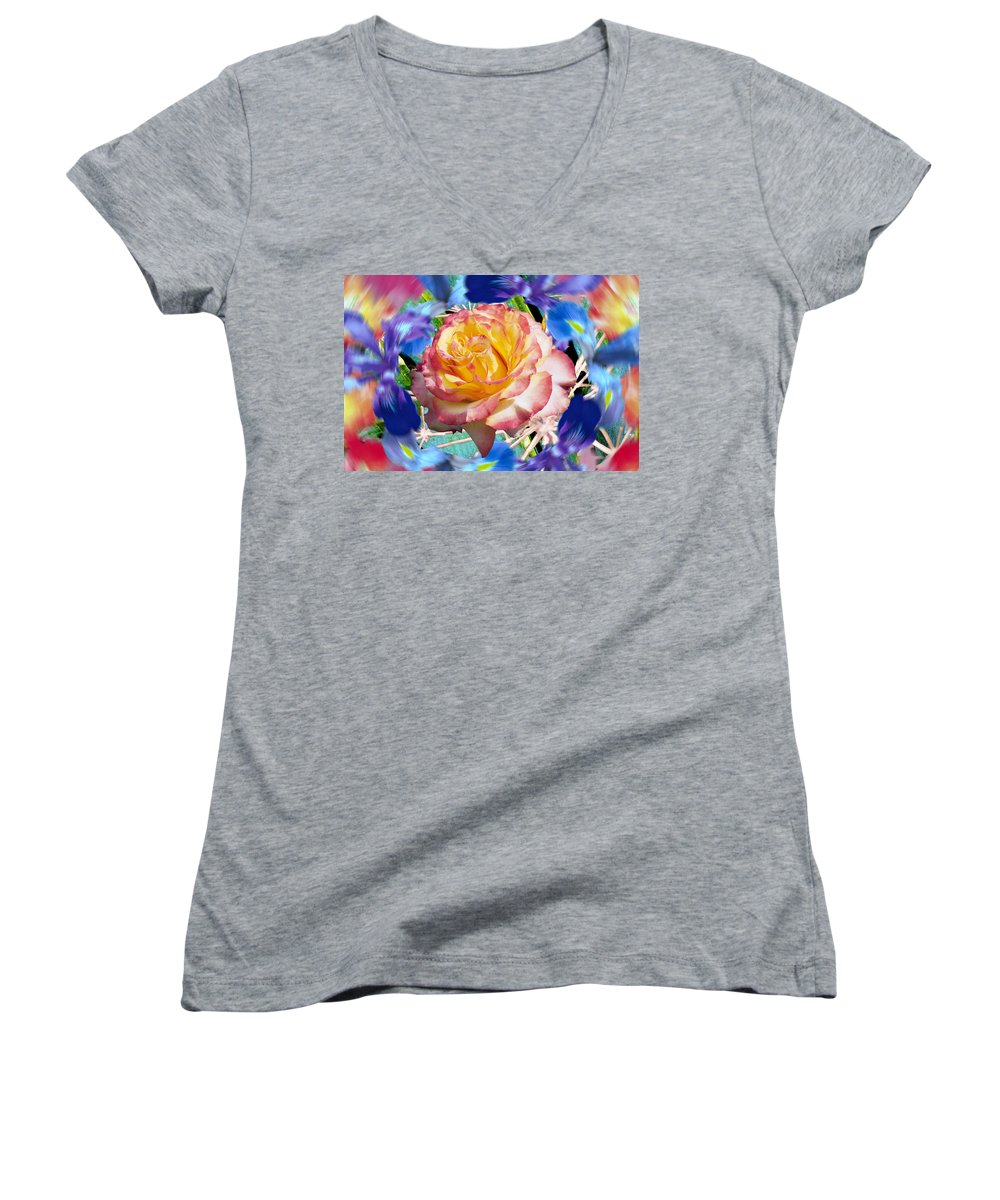 Flowers Women's V-Neck (Athletic Fit) featuring the digital art Flower Dance 2 by Lisa Yount