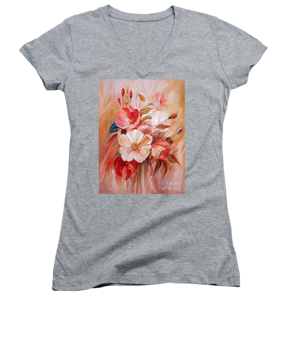 Modern Art Women's V-Neck T-Shirt featuring the painting Flowers I by Silvana Abel