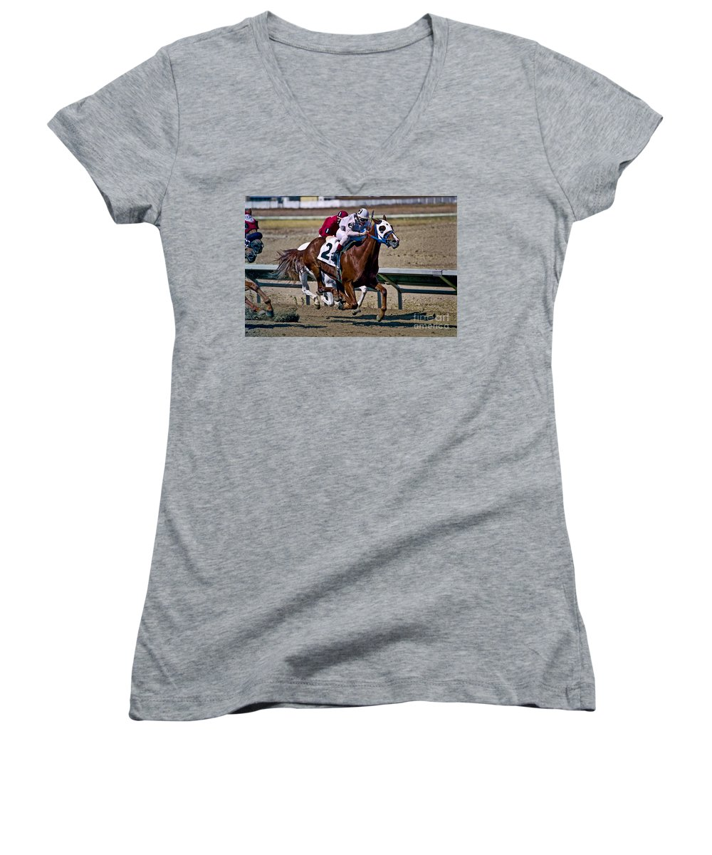 Racing Women's V-Neck (Athletic Fit) featuring the photograph Flying Hooves by Kathy McClure