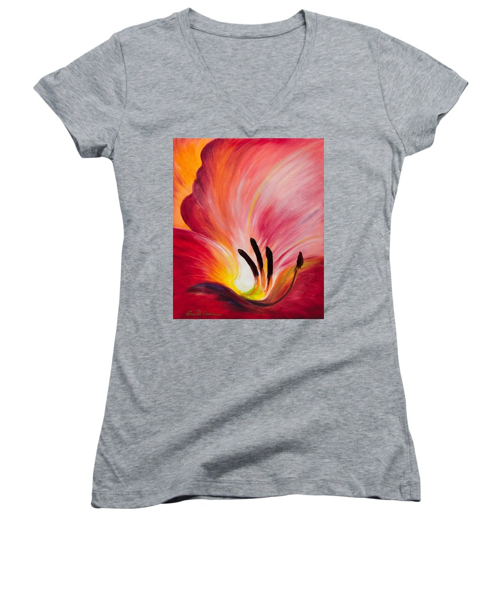 Red Women's V-Neck (Athletic Fit) featuring the painting From The Heart Of A Flower Red I by Gina De Gorna