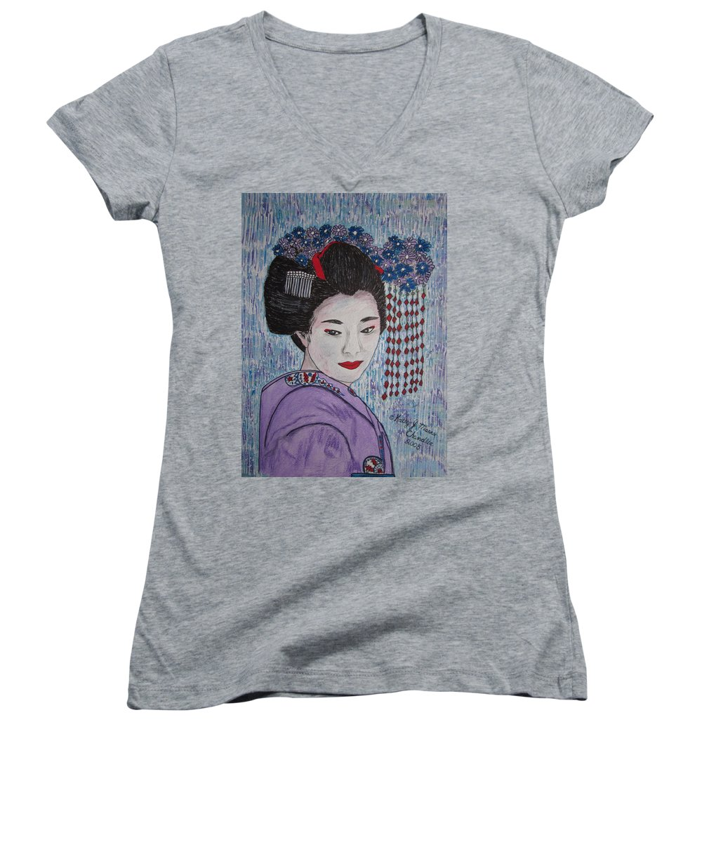 Oriental Women's V-Neck T-Shirt featuring the painting Geisha Girl by Kathy Marrs Chandler
