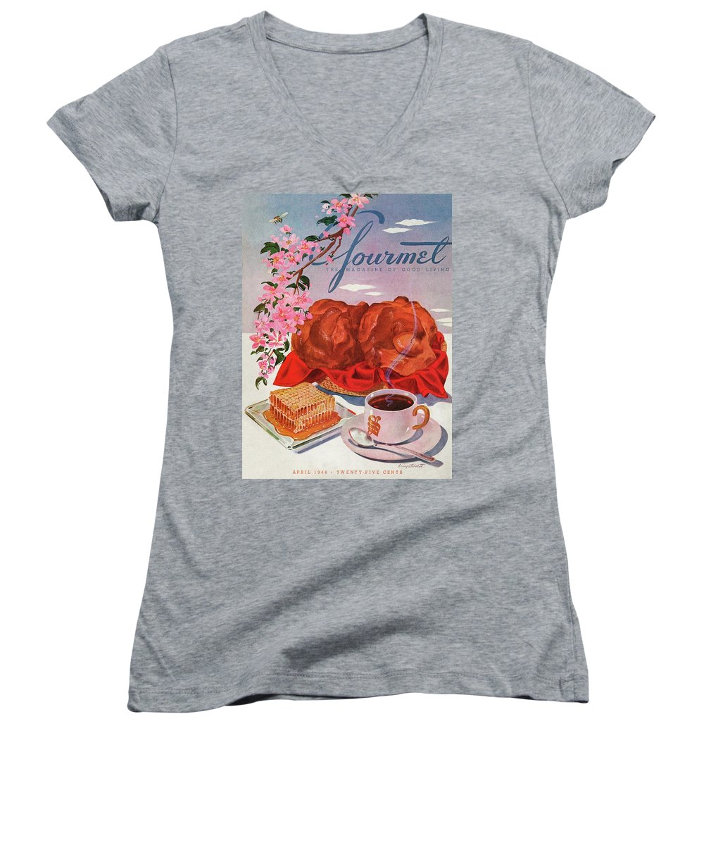 Food Women's V-Neck featuring the photograph Gourmet Cover Illustration Of A Basket Of Popovers by Henry Stahlhut