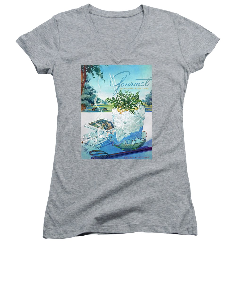 Food Women's V-Neck featuring the photograph Gourmet Cover Illustration Of Mint Julep Packed by Henry Stahlhut