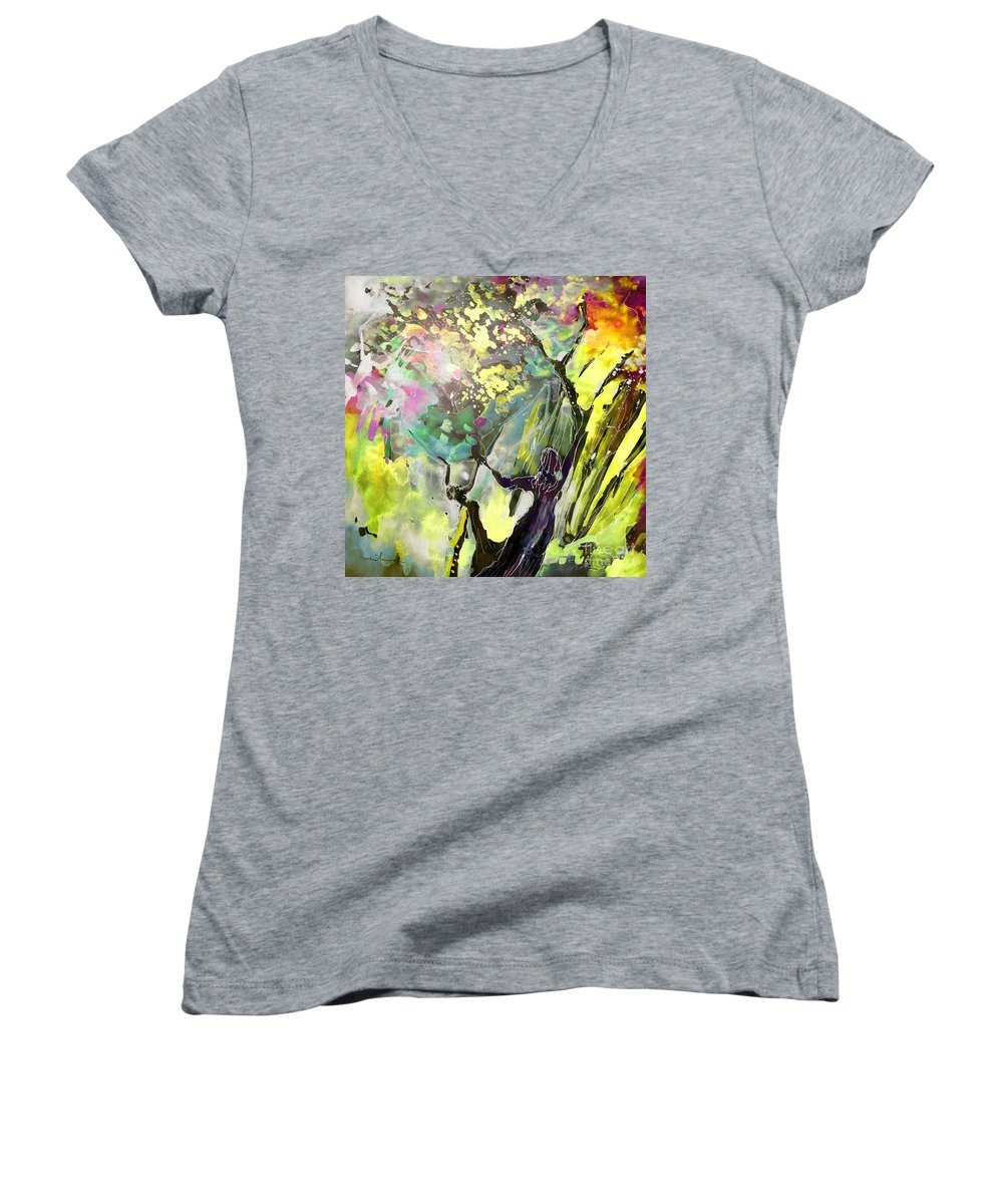 Fantasy Women's V-Neck T-Shirt featuring the painting Grace Under Pressure by Miki De Goodaboom