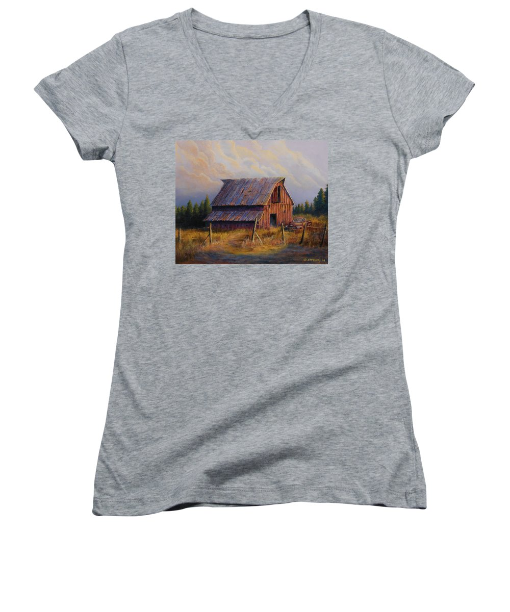 Barn Women's V-Neck T-Shirt featuring the painting Grandpas Truck by Jerry McElroy