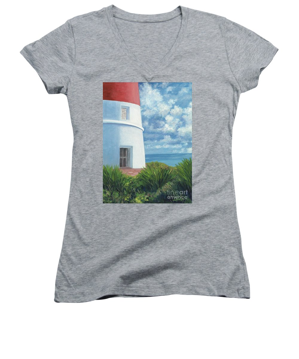 Seascape Women's V-Neck T-Shirt featuring the painting Gun Cay Lighthouse by Danielle Perry