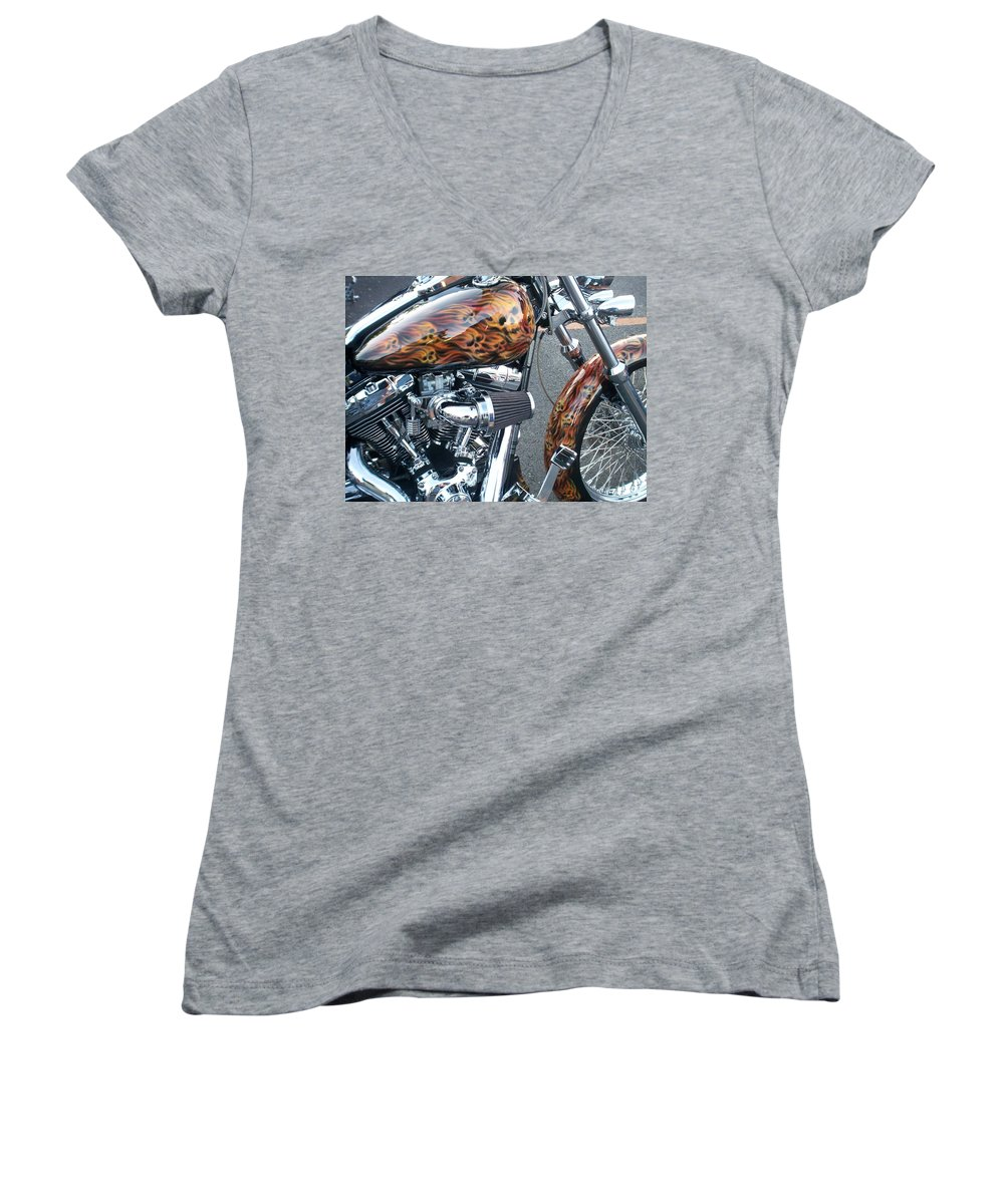 Motorcycles Women's V-Neck (Athletic Fit) featuring the photograph Harley Close-up Skull Flame by Anita Burgermeister