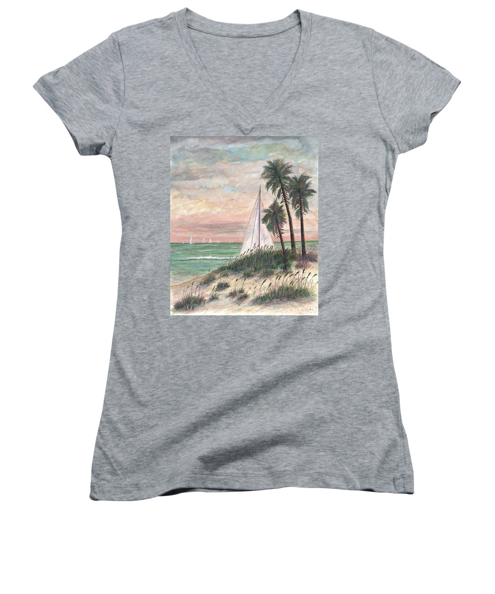 Sailboats; Palm Trees; Ocean; Beach; Sunset Women's V-Neck (Athletic Fit) featuring the painting Hideaway by Ben Kiger