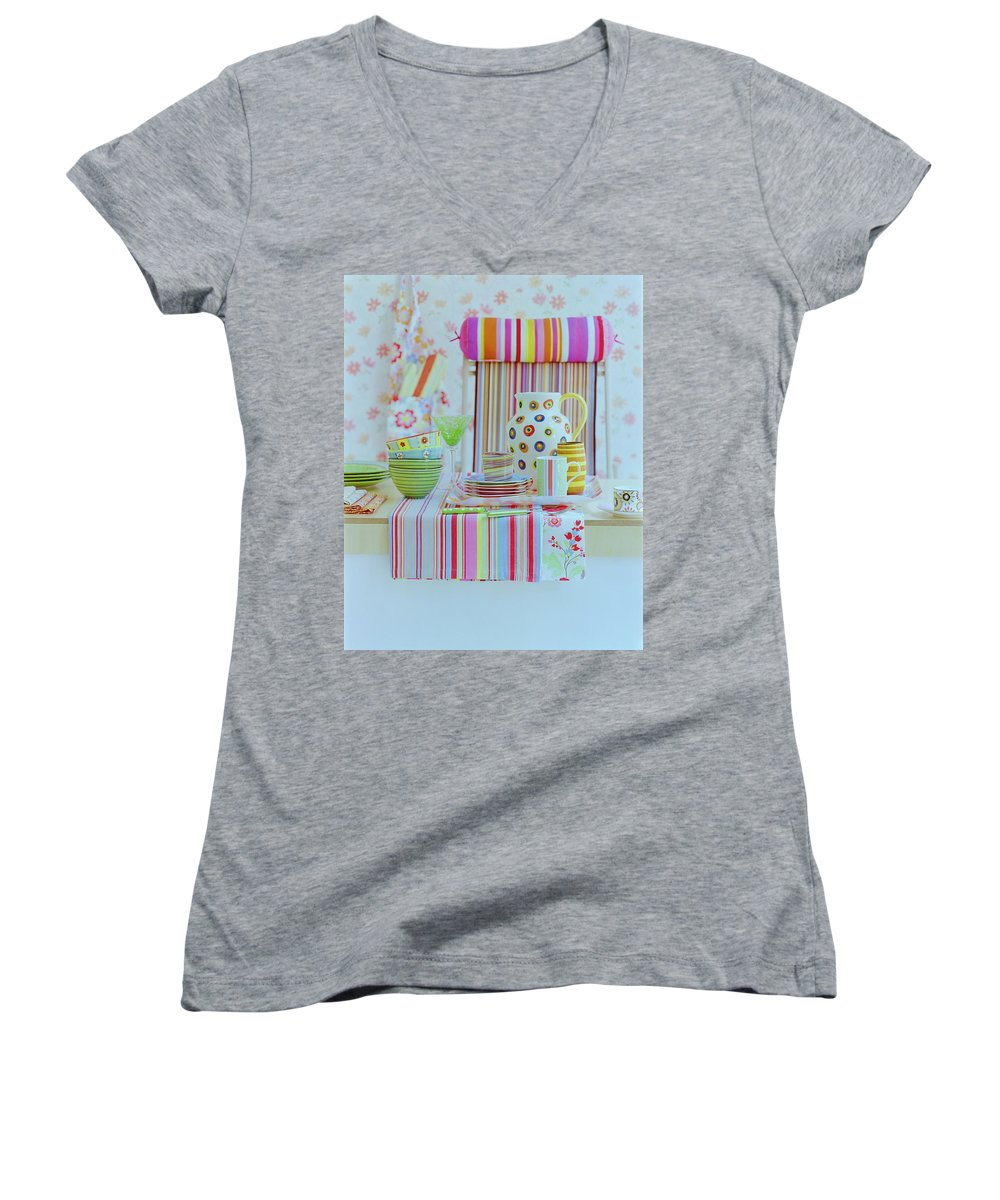 Kitchen Women's V-Neck featuring the photograph Home Accessories by Romulo Yanes