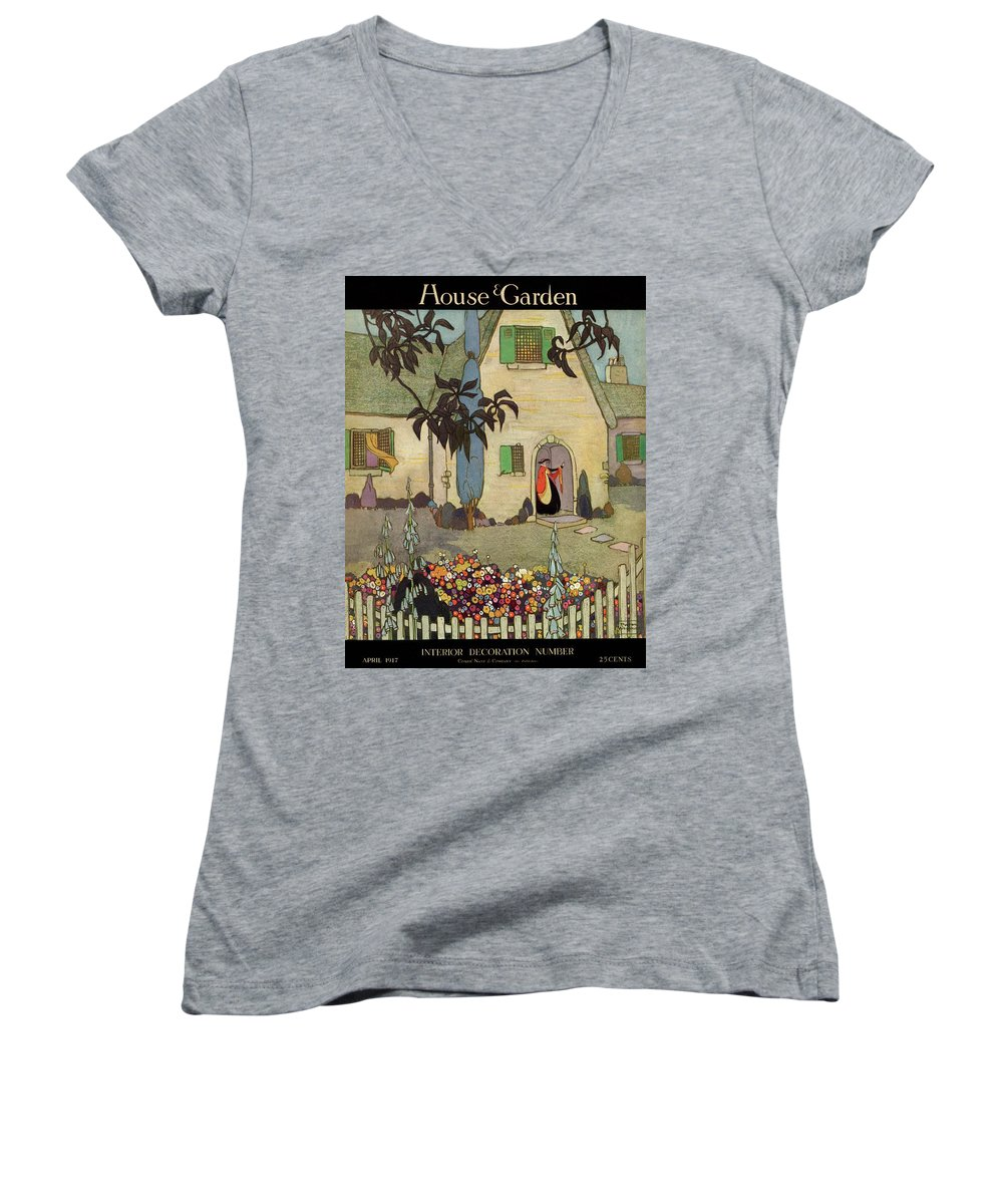 House & Garden Women's V-Neck featuring the photograph House & Garden Cover Illustration Of An by Porter Woodruff