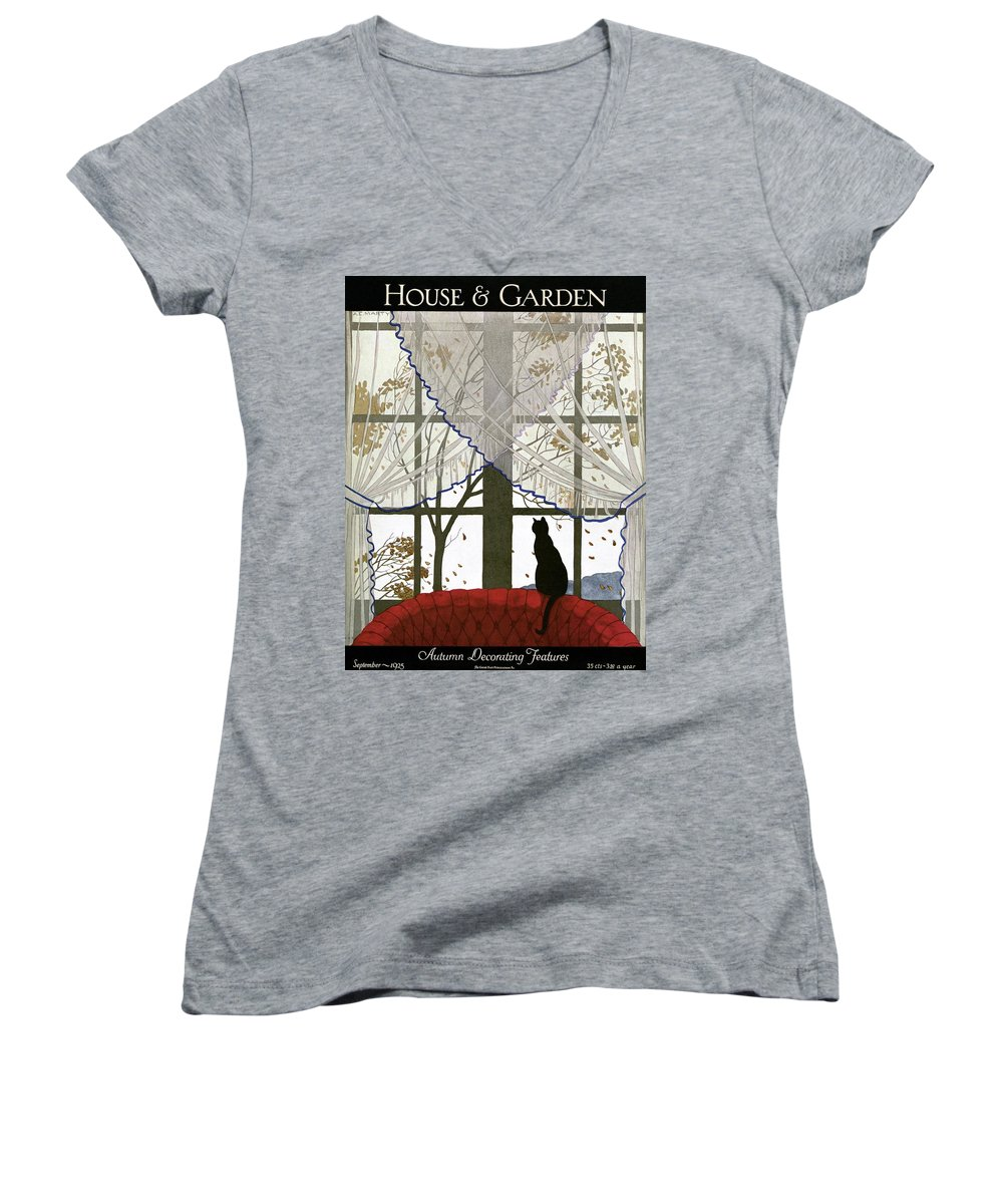Illustration Women's V-Neck featuring the photograph House And Garden Cover by Andre E. Marty